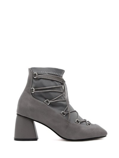 Lace Up PU Leather Panel Ankle Boots - GRAY 38 Mobile