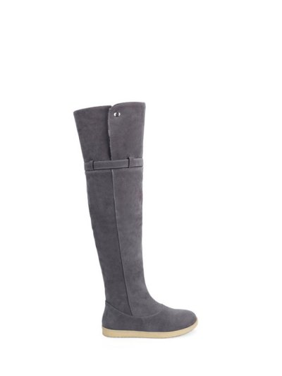 Buckle Strap Flat Heel Thigh Boots - GRAY 37 Mobile