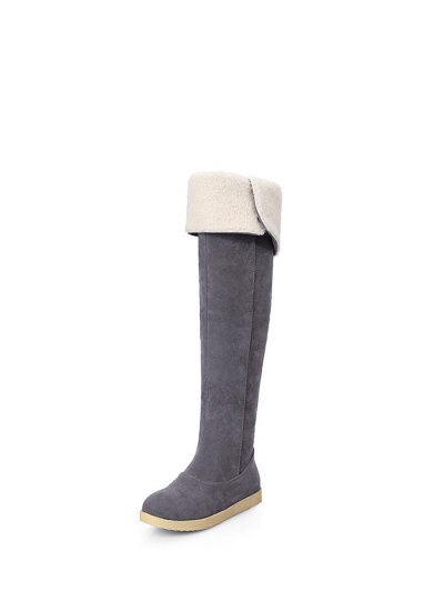 Buckle Strap Flat Heel Thigh Boots - GRAY 38 Mobile