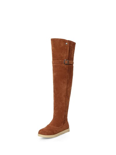 Buckle Strap Flat Heel Thigh Boots - BROWN 37 Mobile