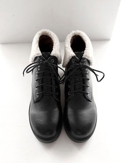 Lace Up Faux Shearling Insert Short Boots - BLACK 39 Mobile