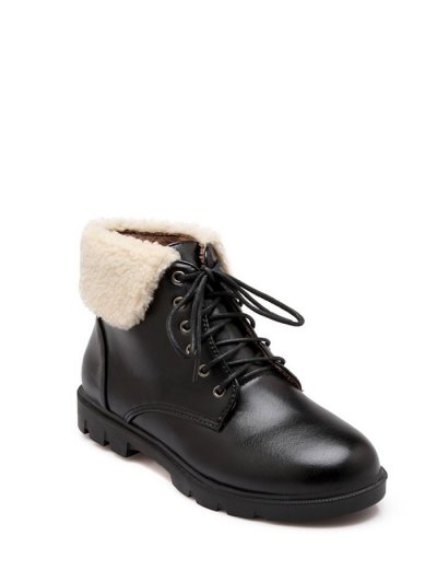 Lace Up Faux Shearling Insert Short Boots - BLACK 38 Mobile