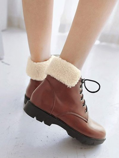 Lace Up Faux Shearling Insert Short Boots - BROWN 37 Mobile