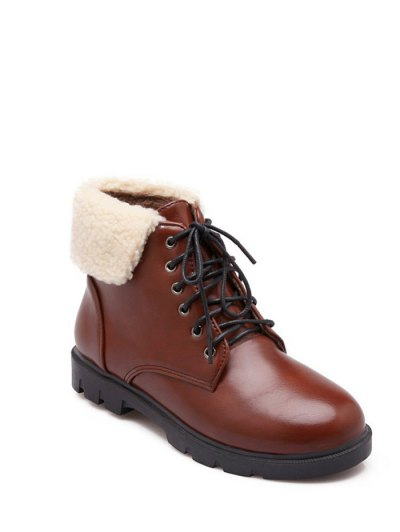Lace Up Faux Shearling Insert Short Boots - BROWN 38 Mobile