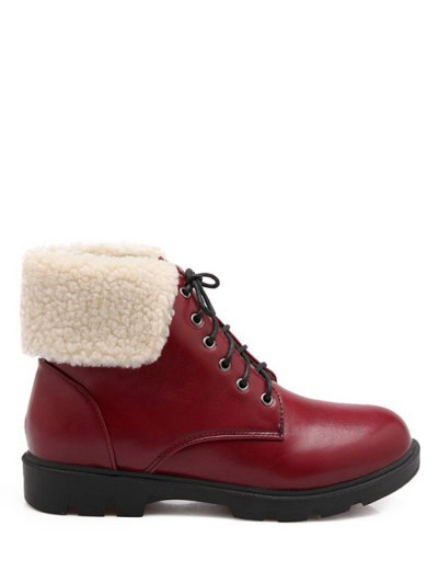 Lace Up Faux Shearling Insert Short Boots - WINE RED 37 Mobile