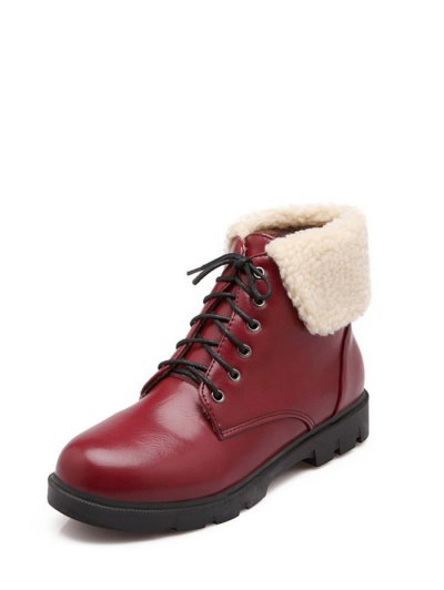 Lace Up Faux Shearling Insert Short Boots - WINE RED 38 Mobile