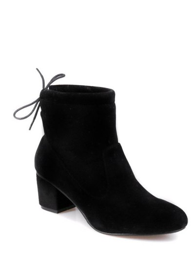 Chunky Heel Suede Short Boots - BLACK 37 Mobile