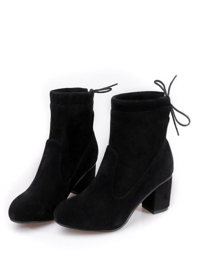 Chunky Heel Suede Short Boots - BLACK 38 Mobile