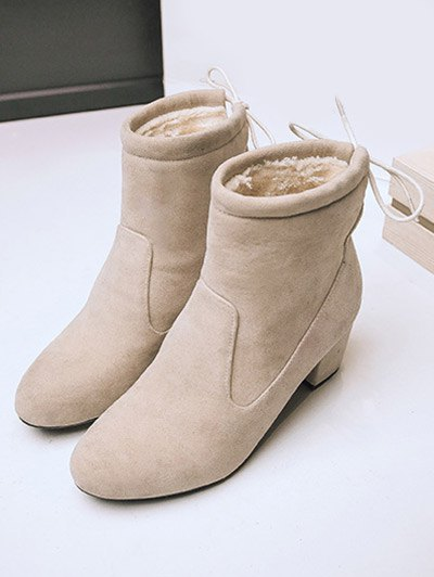 Chunky Heel Suede Short Boots - OFF-WHITE 39 Mobile