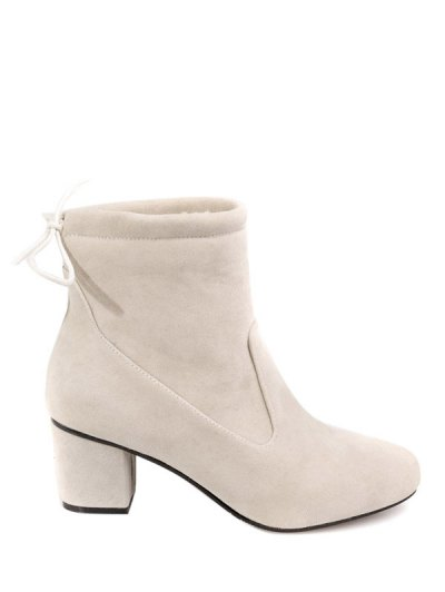Chunky Heel Suede Short Boots - OFF-WHITE 37 Mobile
