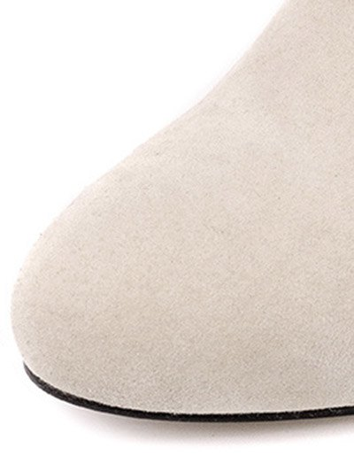 Chunky Heel Suede Short Boots - OFF-WHITE 38 Mobile
