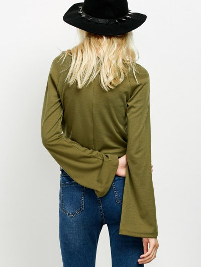 Flared Sleeve Cropped Tee - ARMY GREEN M Mobile