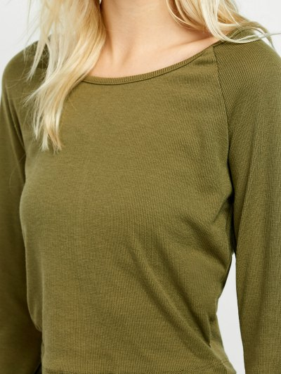 Flared Sleeve Cropped Tee - ARMY GREEN S Mobile