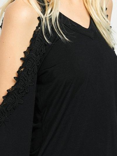 Lace Trim Cold Shoulder Tee - BLACK L Mobile