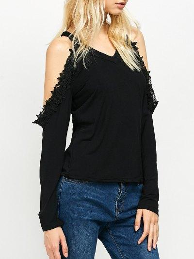 Lace Trim Cold Shoulder Tee - BLACK M Mobile