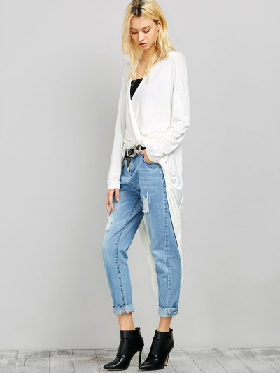 Twist Front High Low Top - WHITE 2XL Mobile