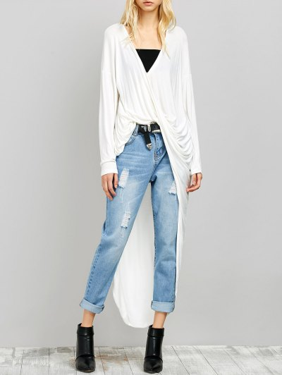 Twist Front High Low Top - WHITE M Mobile
