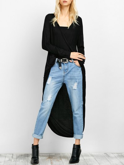 Twist Front High Low Top - BLACK 2XL Mobile