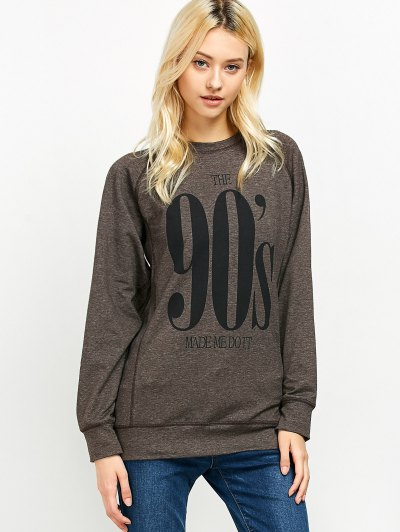 Raglan Sleeve Long Sweatshirt - LIGHT COFFEE 2XL Mobile