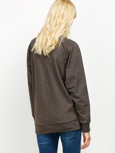 Raglan Sleeve Long Sweatshirt - LIGHT COFFEE M Mobile