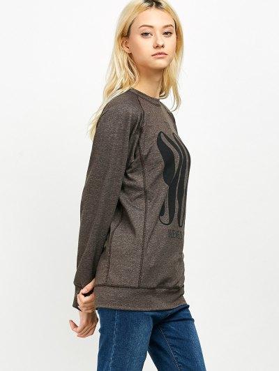 Raglan Sleeve Long Sweatshirt - LIGHT COFFEE S Mobile