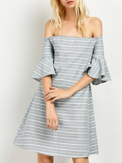 Frilled Sleeve Striped Off The Shoulder Dress - GREY AND WHITE XL Mobile