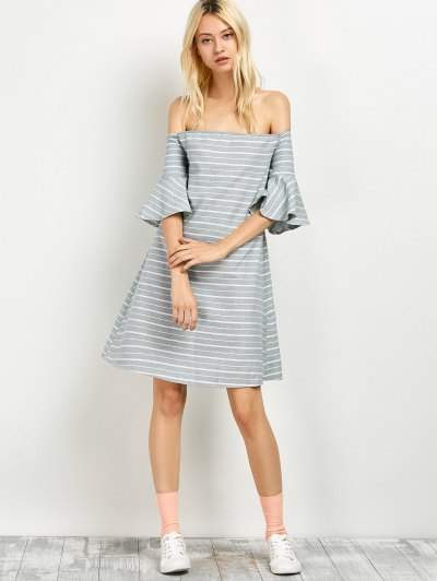 Frilled Sleeve Striped Off The Shoulder Dress - GREY AND WHITE L Mobile