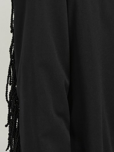 Belted Fringed Shirt Dress - BLACK 2XL Mobile