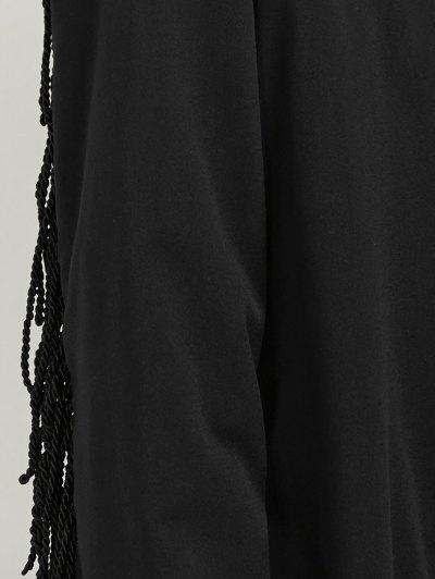 Belted Fringed Shirt Dress - BLACK XL Mobile