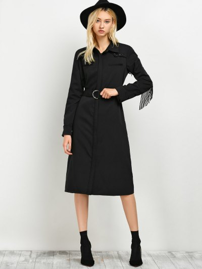 Belted Fringed Shirt Dress - BLACK L Mobile