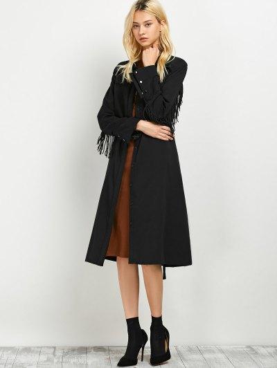 Belted Fringed Shirt Dress - BLACK S Mobile