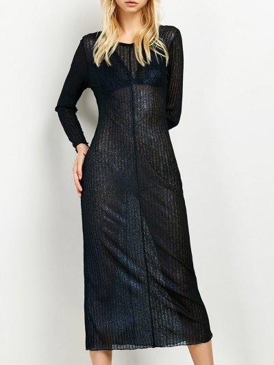 Shimmer Long Dress - PURPLISH BLUE 2XL Mobile