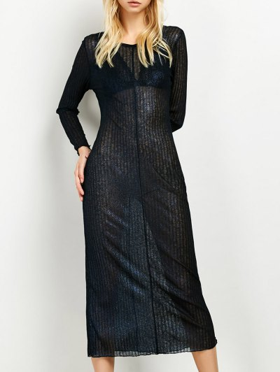 Shimmer Long Dress - PURPLISH BLUE L Mobile