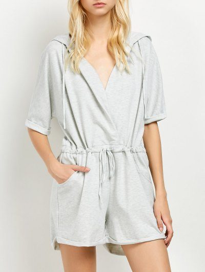 Rolled Cuffs Hooded Romper - GRAY 2XL Mobile