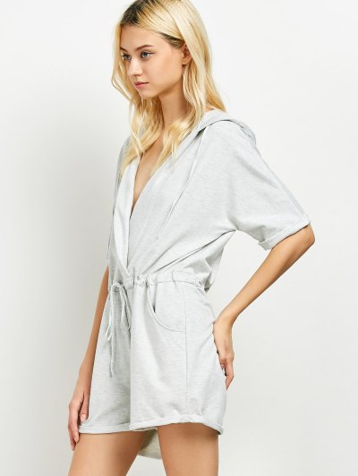 Rolled Cuffs Hooded Romper - GRAY L Mobile