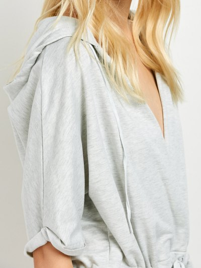 Rolled Cuffs Hooded Romper - GRAY S Mobile