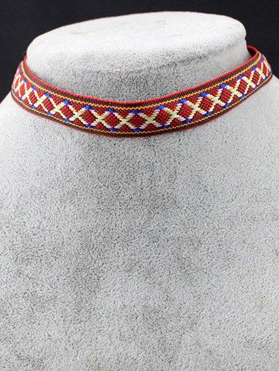 Braid Criss Cross Choker - RED  Mobile