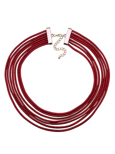 Artificial Leather Rope Layered Choker Necklace - RED  Mobile