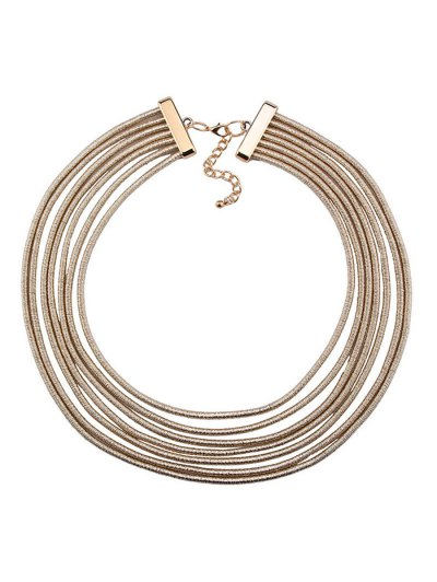 Artificial Leather Rope Layered Choker Necklace - GOLDEN  Mobile