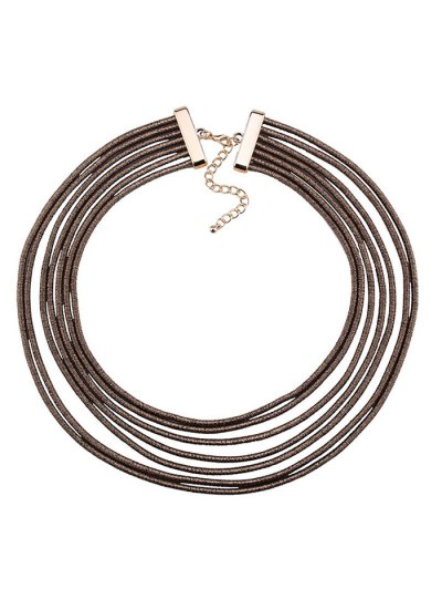 Artificial Leather Rope Layered Choker Necklace - COFFEE  Mobile