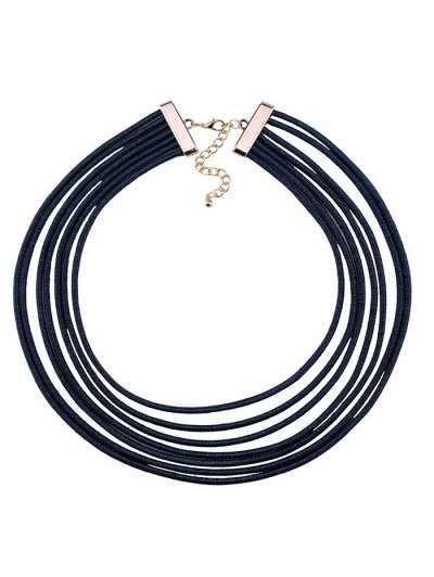 Artificial Leather Rope Layered Choker Necklace - BLUE  Mobile