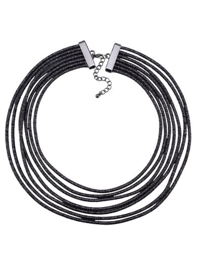 Artificial Leather Rope Layered Choker Necklace - BLACK  Mobile