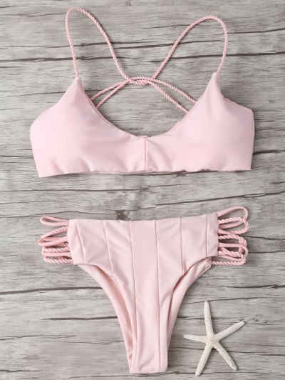 Strappy Cross Criss Bikini Set - PINK S Mobile