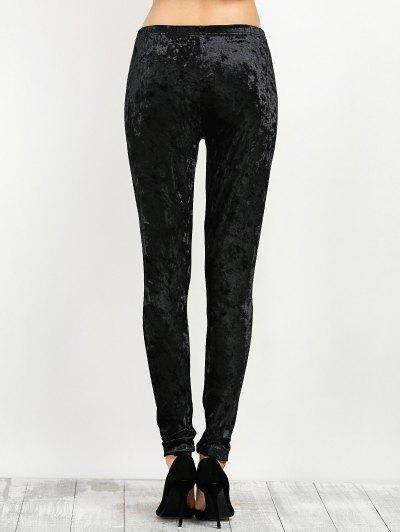 Stretchy Velour Narrow Feet Pants - BLACK L Mobile