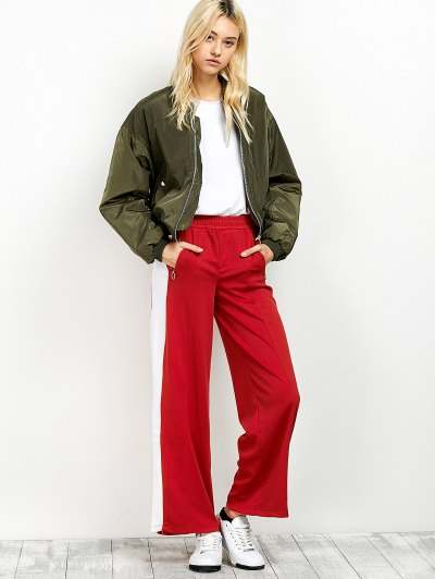 Side Band Wide Leg Pants - RED L Mobile
