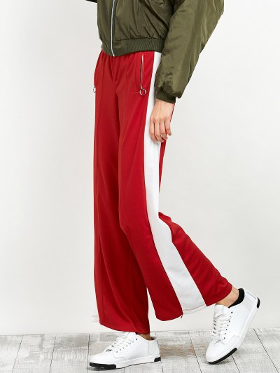 Side Band Wide Leg Pants - RED S Mobile