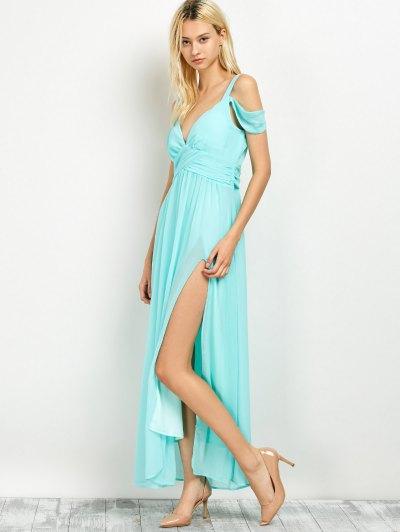 Cold Shoulder Slit Prom Dress - LIGHT GREEN 2XL Mobile