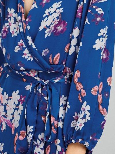 Wrap Front Maxi Floral Dress - BLUE 2XL Mobile