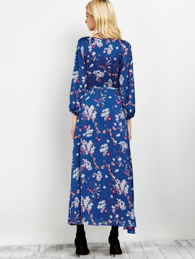 Wrap Front Maxi Floral Dress - BLUE L Mobile