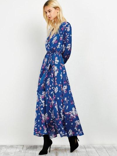 Wrap Front Maxi Floral Dress - BLUE L Mobile